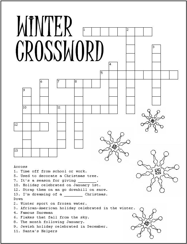 Free Printable Winter Puzzles