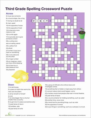 3rd Grade Crossword Puzzles Printable Free