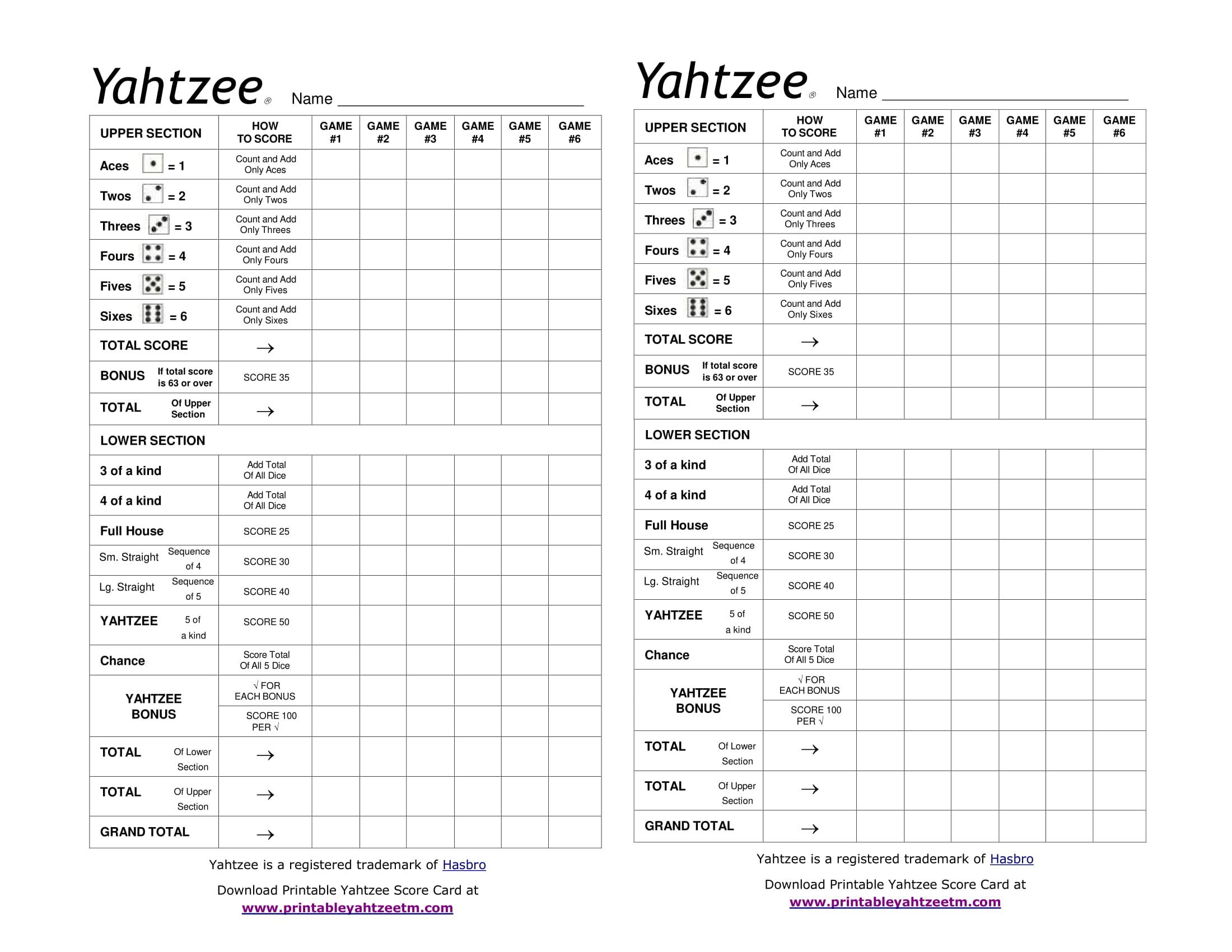 Printable Yahtzee Score Card-1