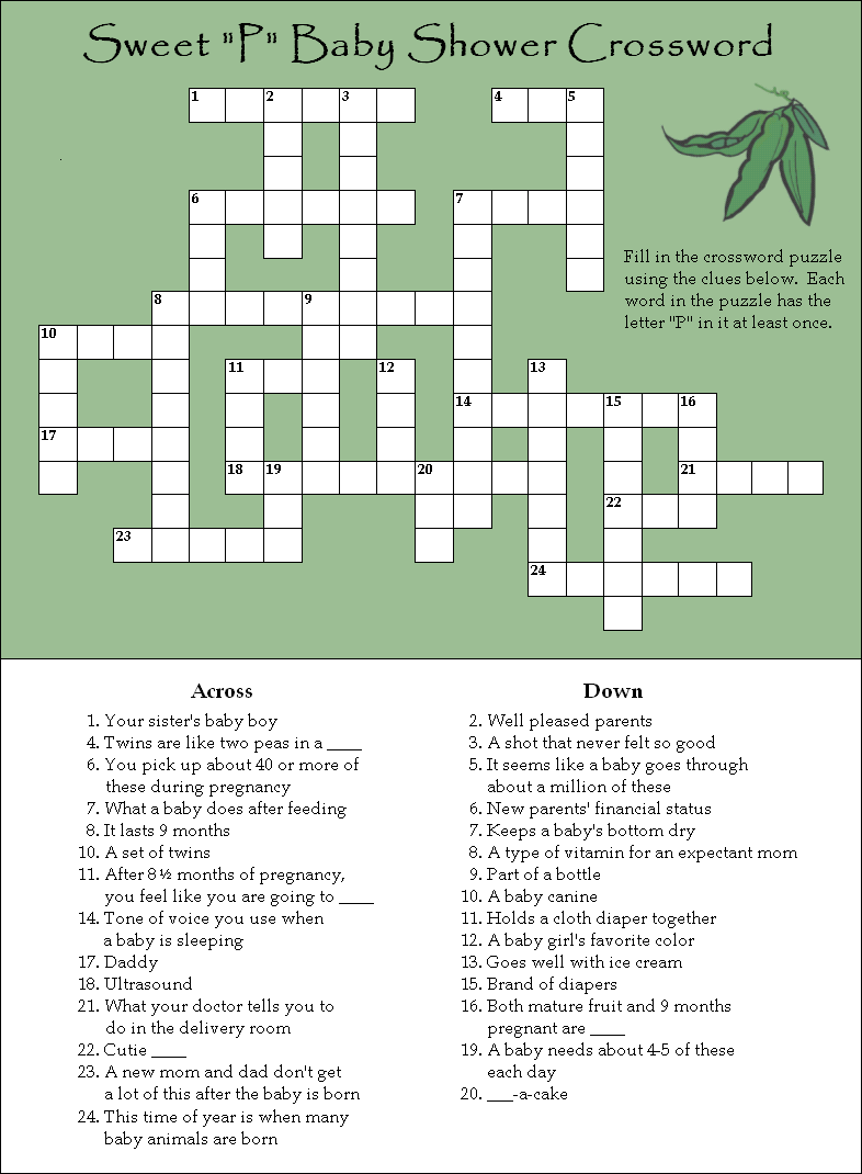 Baby Shower Crossword Puzzle Free Printable