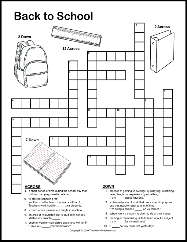 Free Printable Crossword Puzzles For Grade 4