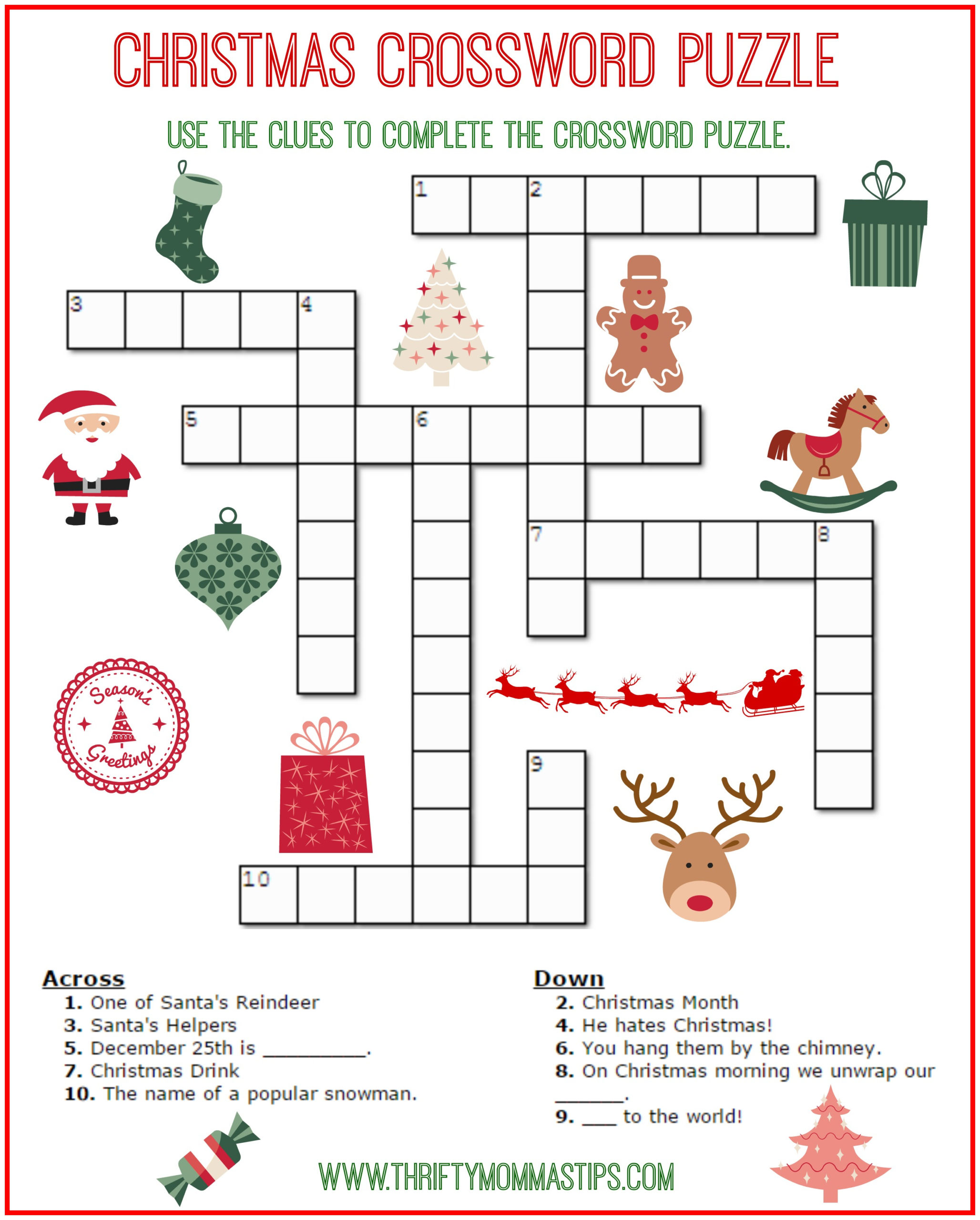 Free Holiday Crossword Puzzles Printable