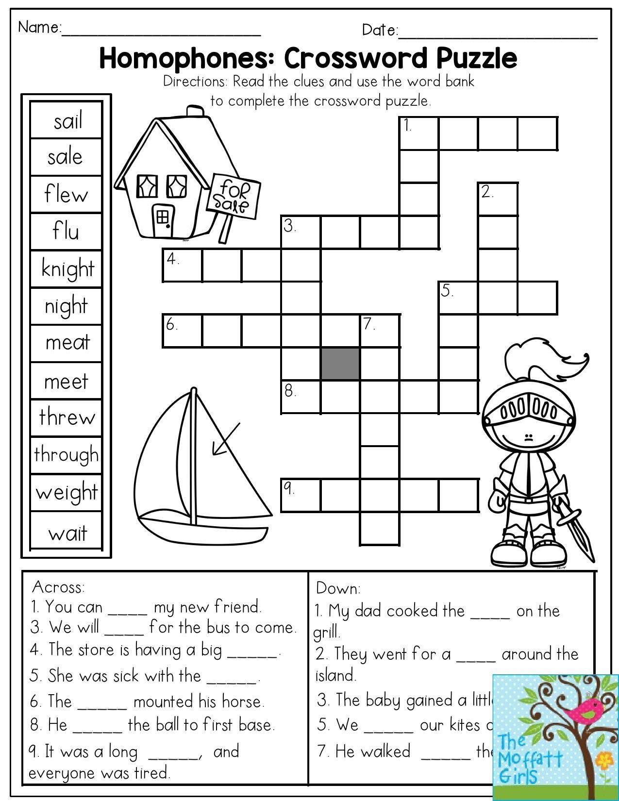 Free Printable 1st Grade Crossword Puzzles