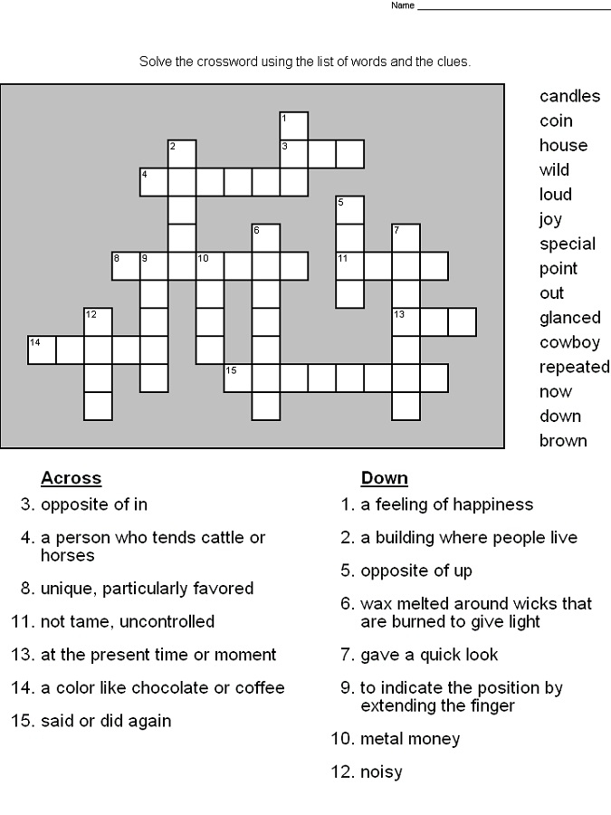 Free Printable Crossword Puzzles For Grade 5