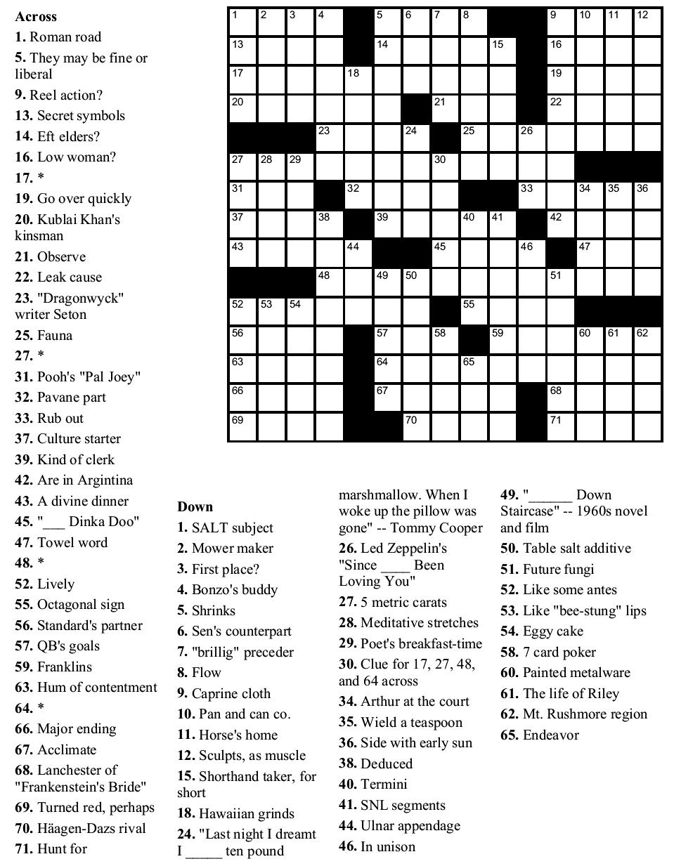 Free Crossword Puzzle Template Printable