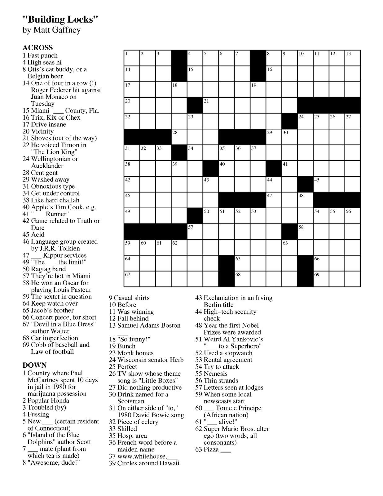 Make Crossword Puzzle Online Free Printable