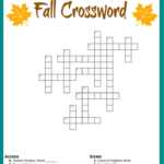 Free Fall Crossword Puzzle Printable Worksheet Available