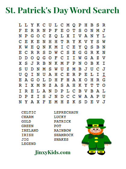 Free Printable St Patrick Day Word Search Puzzles