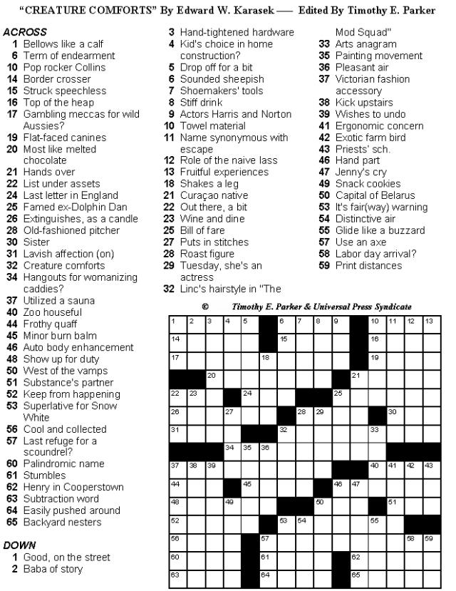Free Printable Crosswords Medium Difficulty