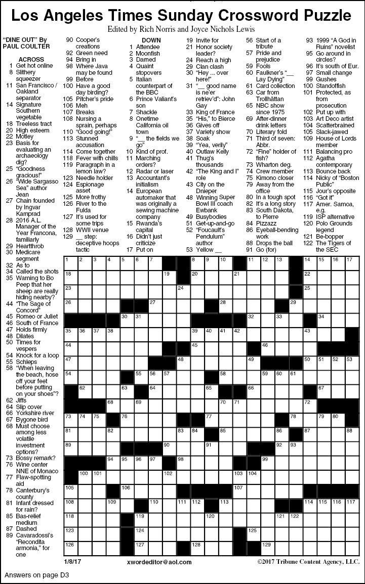 Free La Times Crossword Printable
