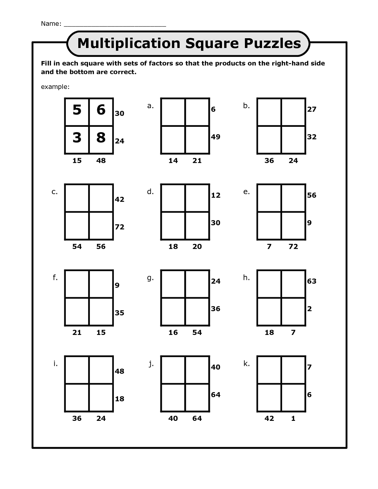 Free Math Puzzles Worksheets Printables