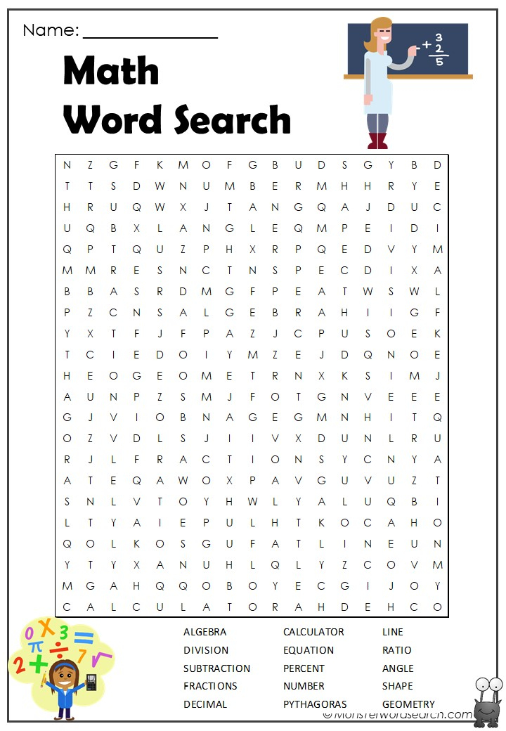 Free Math Word Search Puzzles Printable