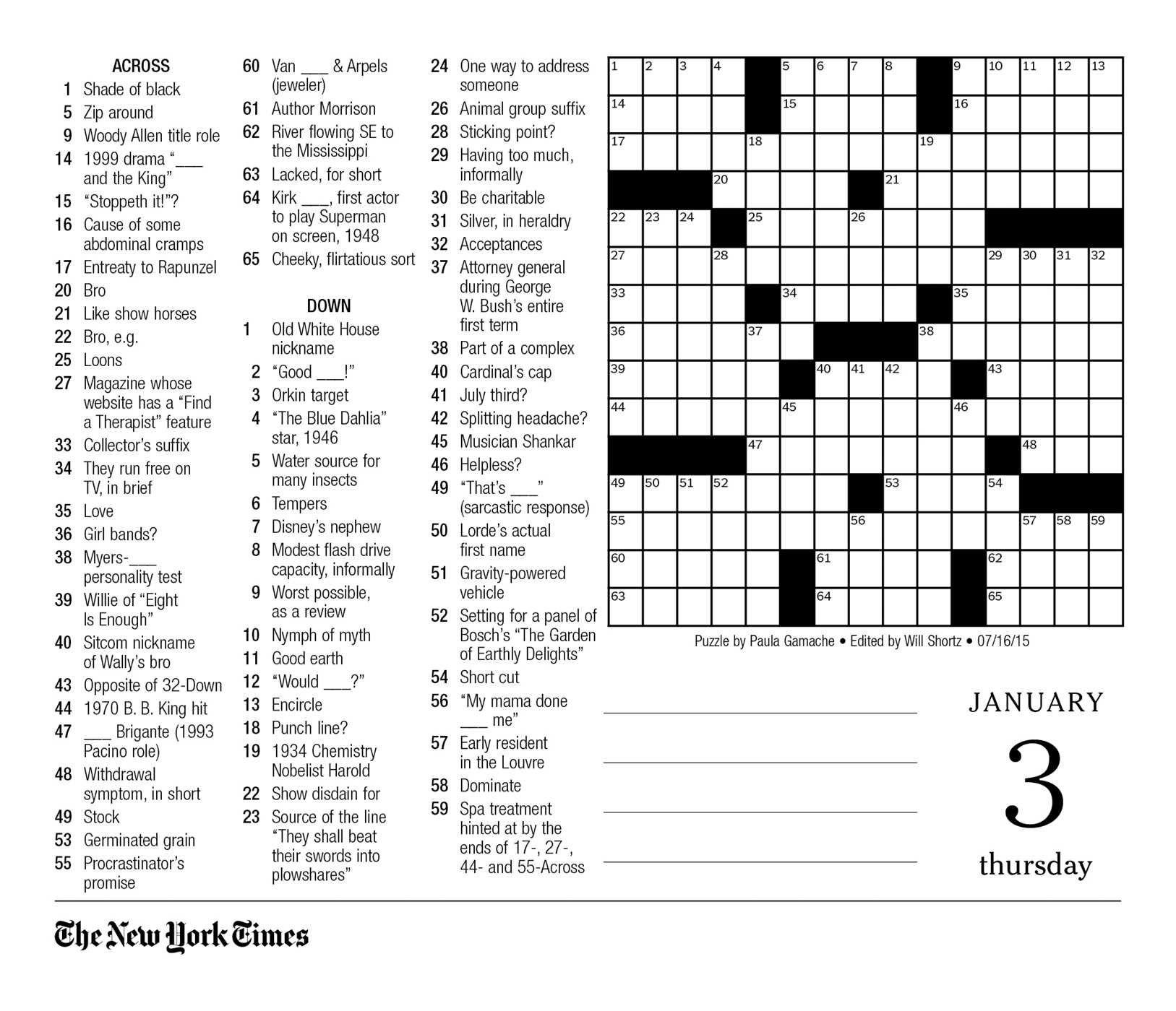 New York Times Crossword Printable Free Today