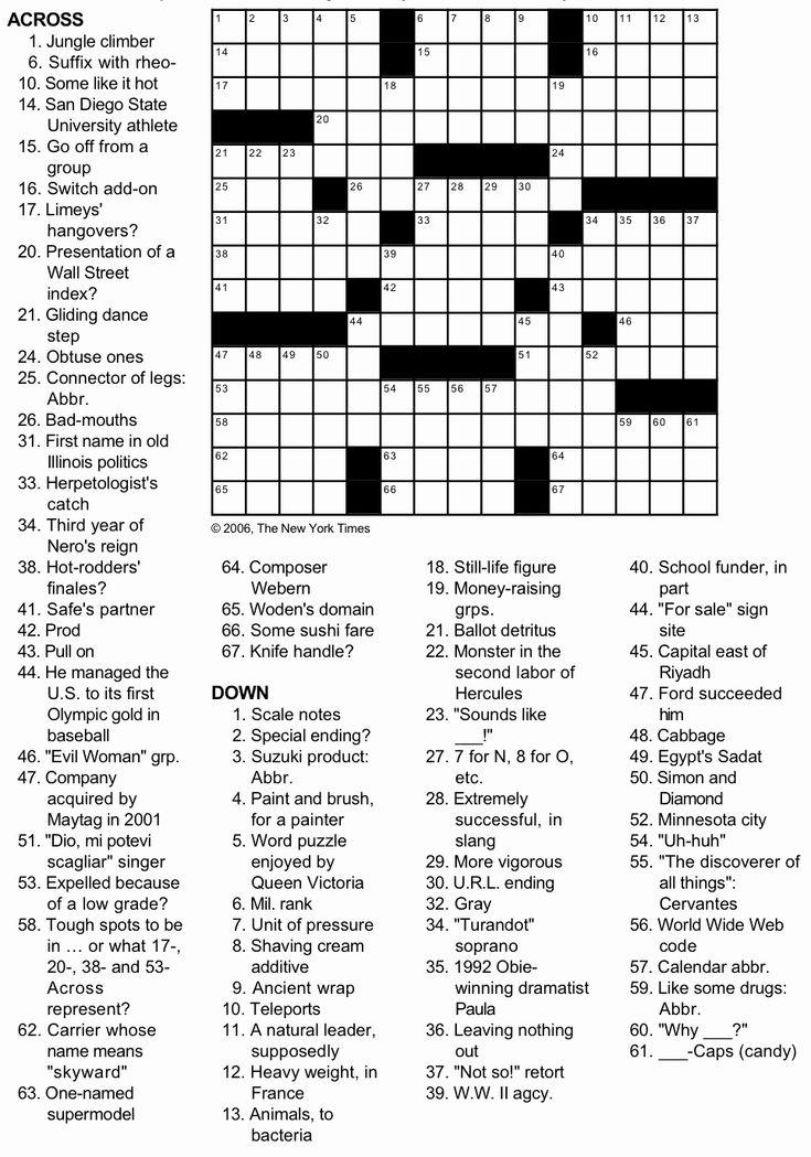 New York Times Crossword Printable Free Tuesday