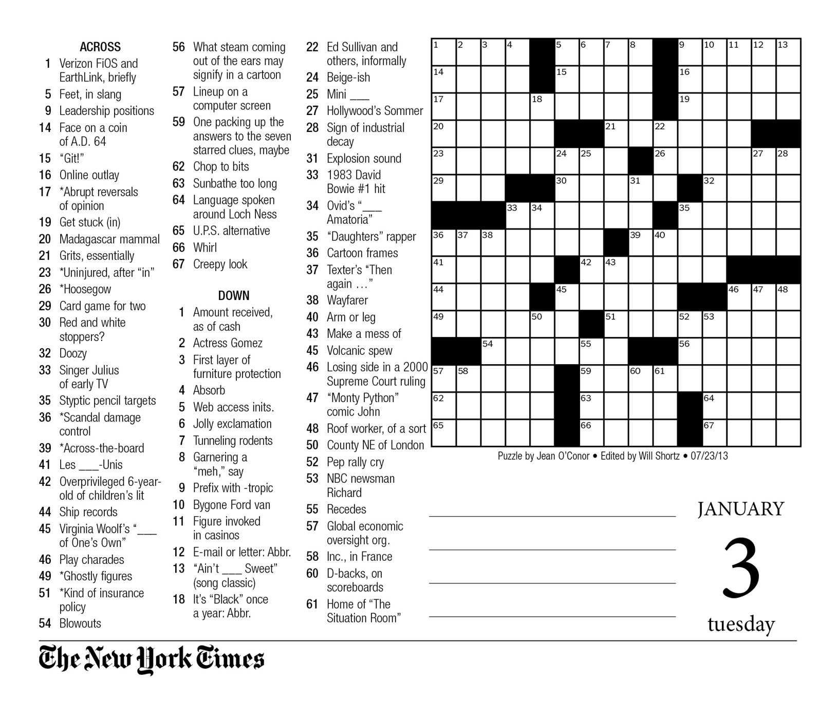 New York Times Crossword Printable Free Sunday