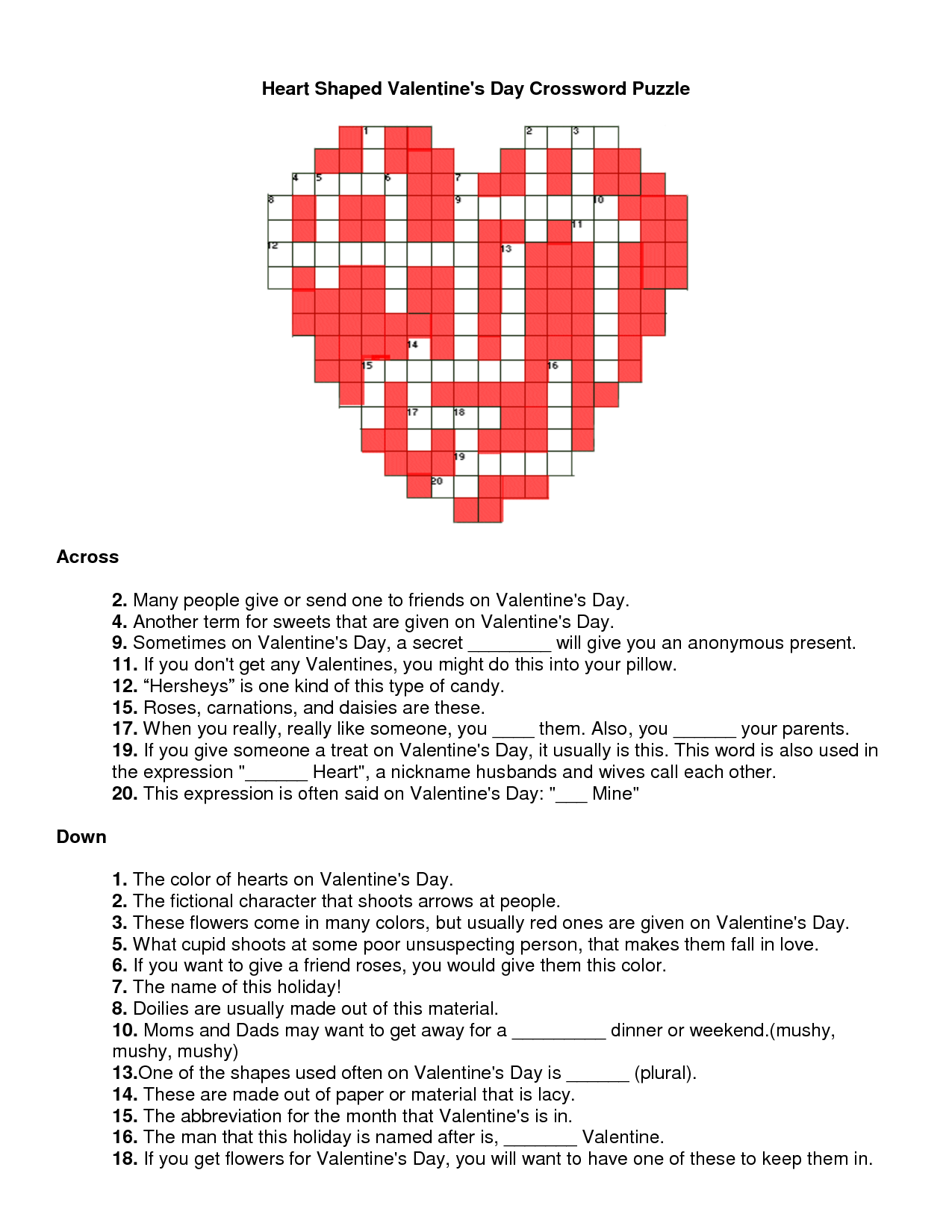 Free Printable Valentine Crossword Puzzles For Adults