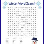 Winter Word Search Free Printable Worksheet