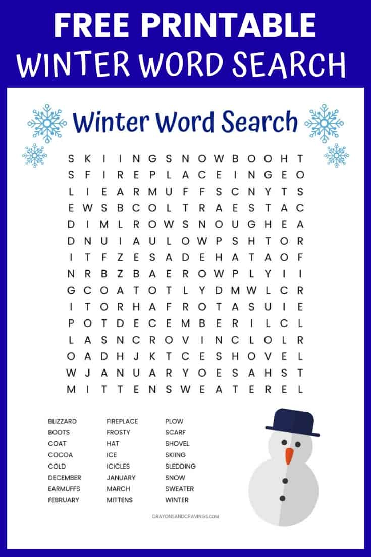 Free Printable Winter Word Search Puzzles