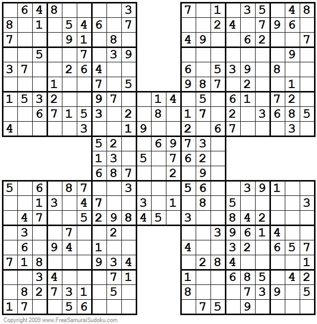 Easy Samurai Sudoku Printable
