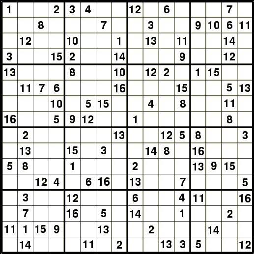 Sudoku 16x16 Printable Numbers
