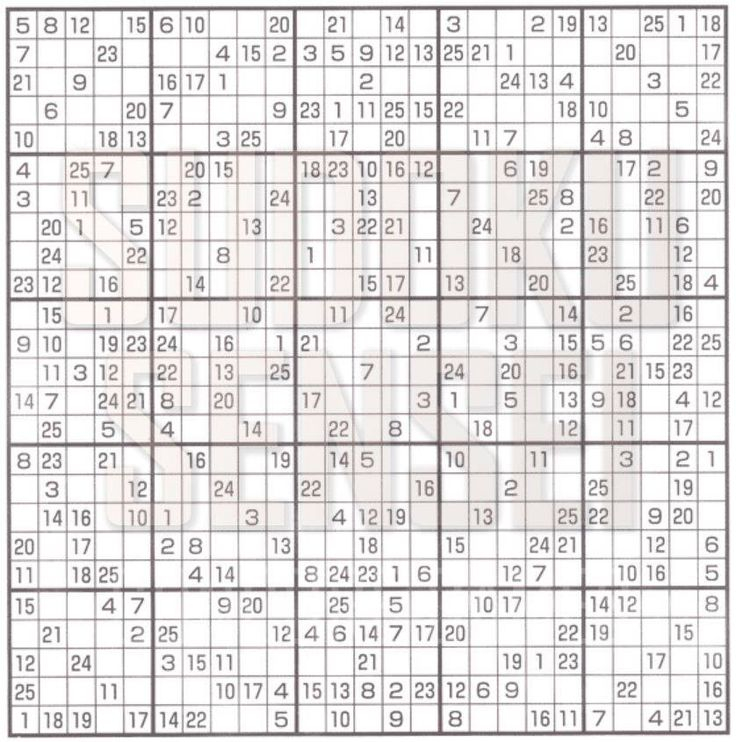 Sudoku 25x25 Printable Numbers