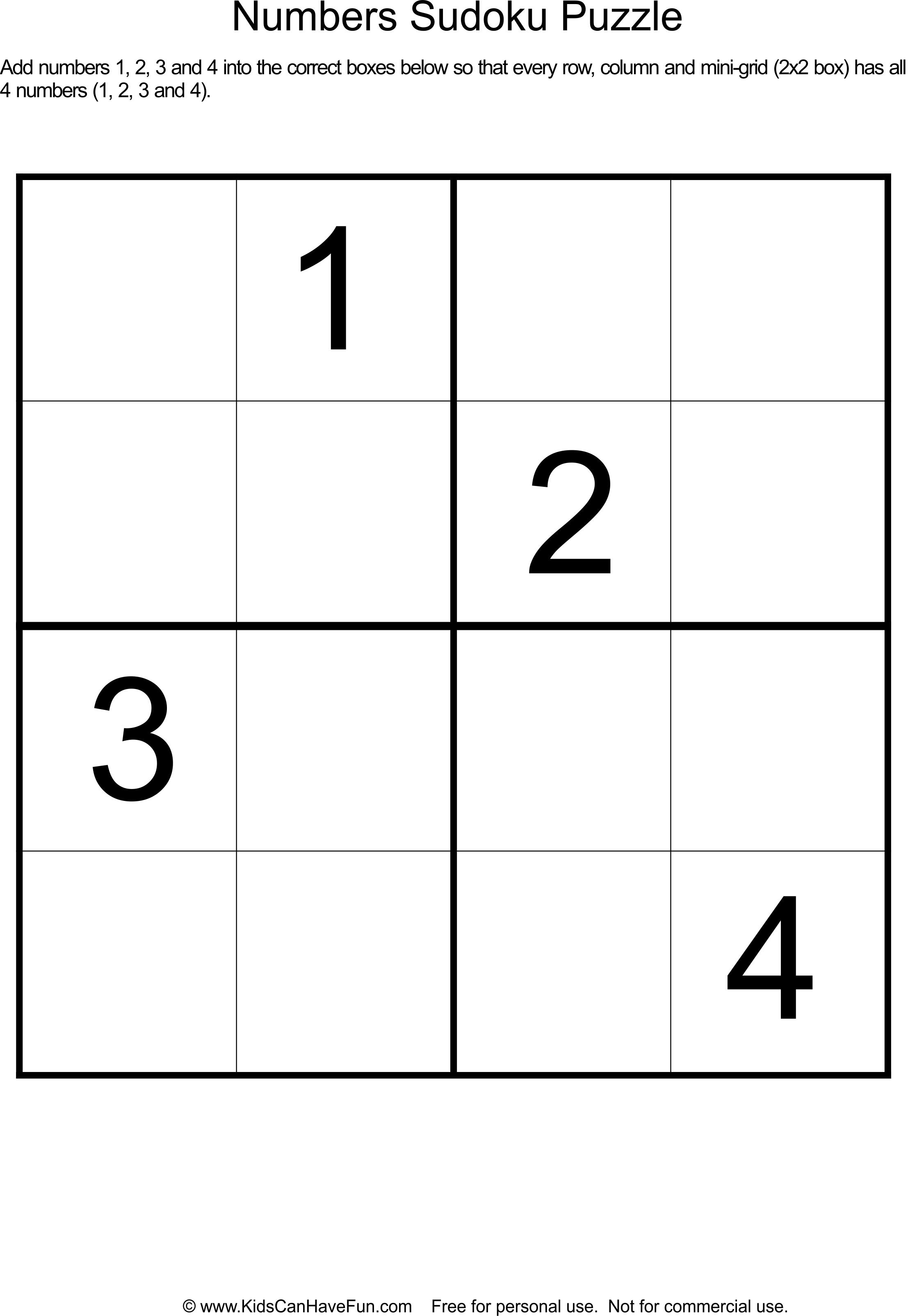 Sudoku 2x2 Printable