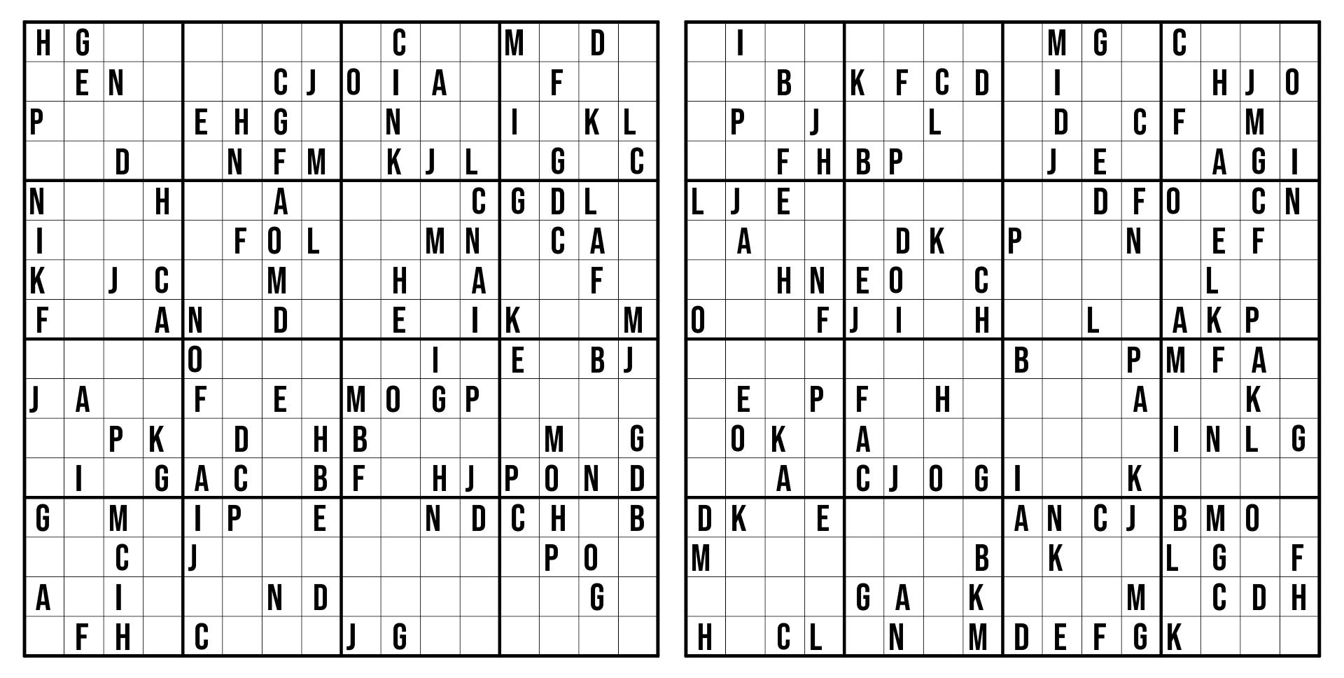 16 By 16 Sudoku Printable