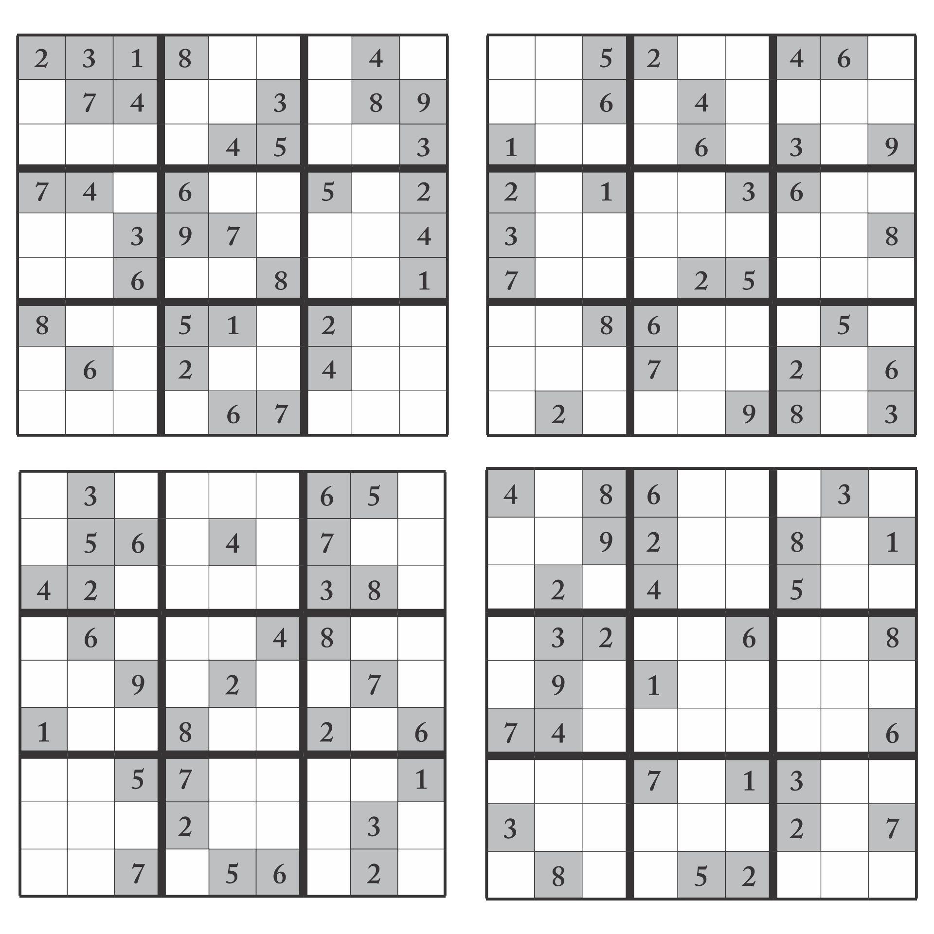 Printable 16x16 Sudoku Puzzles