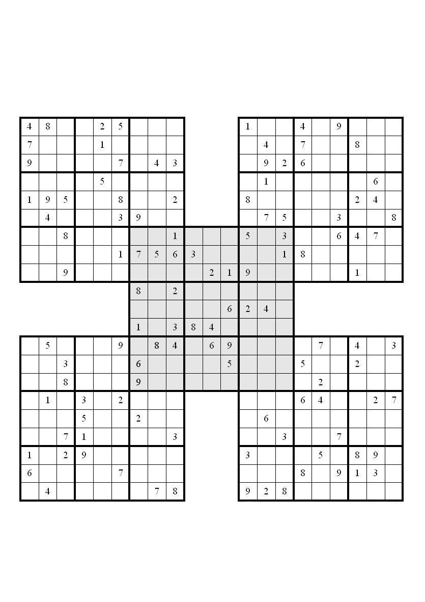 Samurai Sudoku Printable