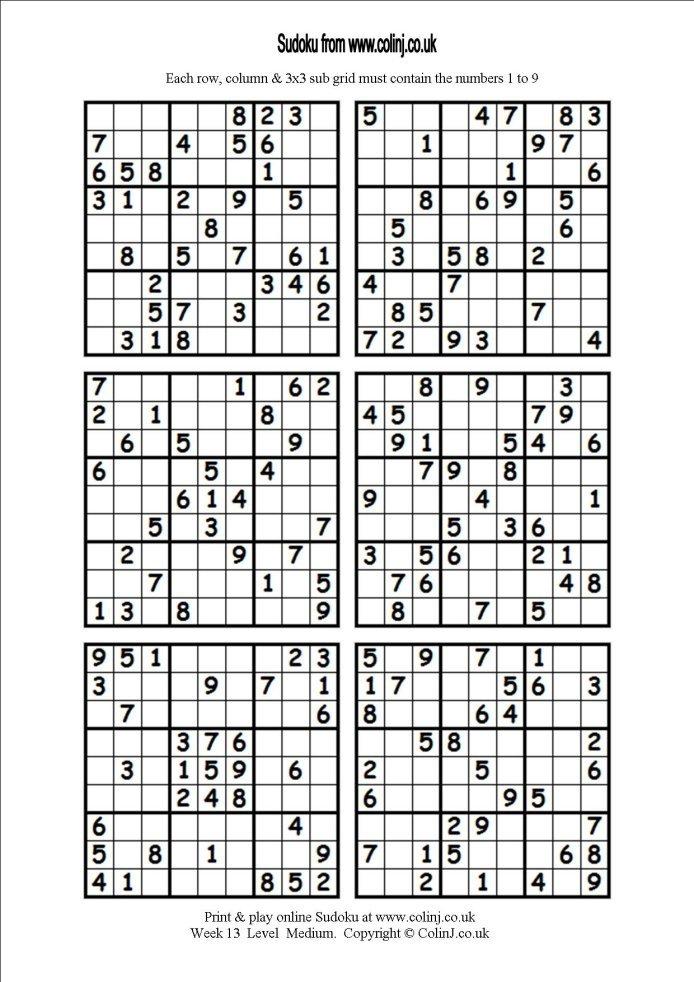 Printable Sudoku 6 Per Page Easy