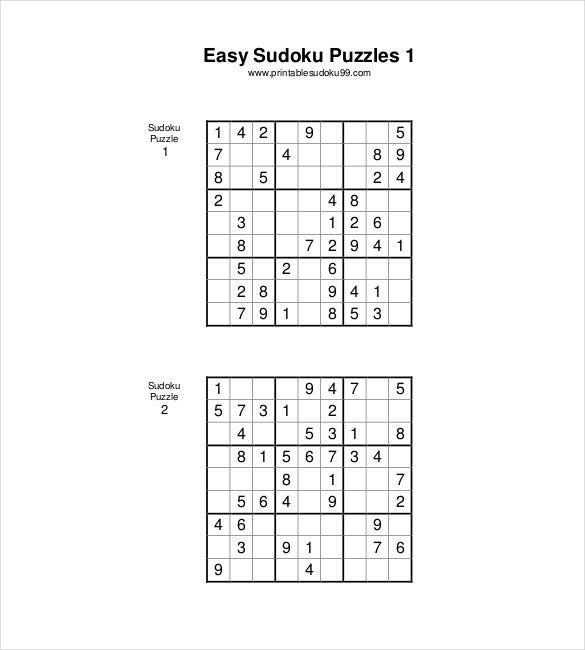 Printable Easy Sudoku Pdf