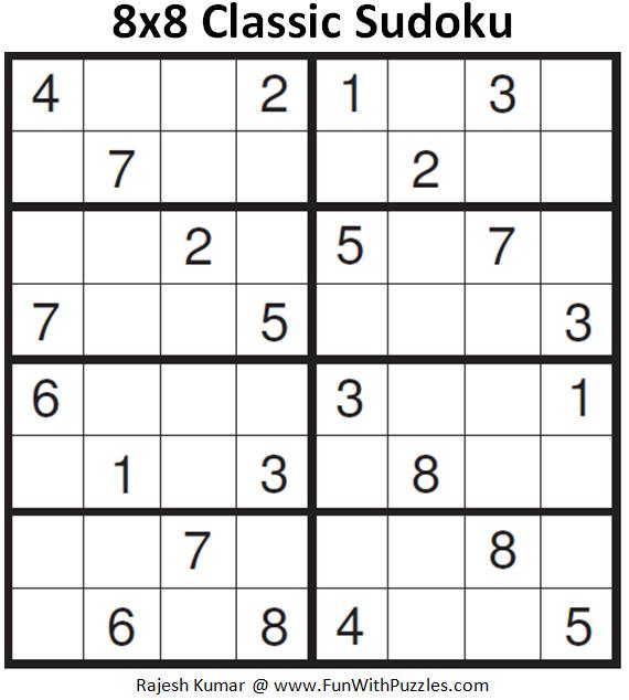 Sudoku 8x8 Printable