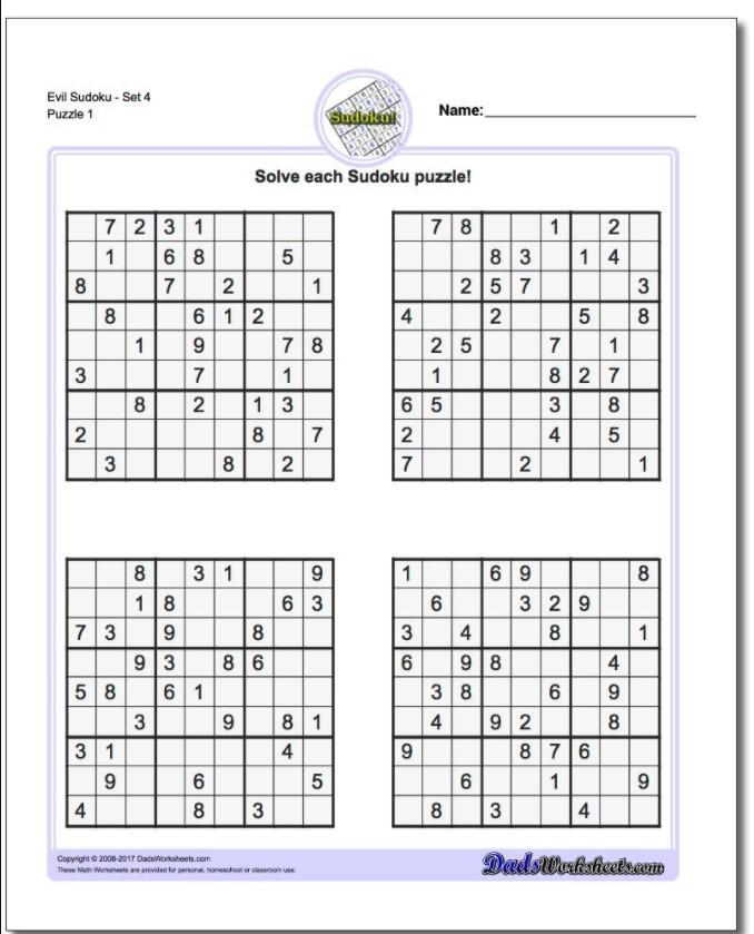 Evil Sudoku Puzzles Printable