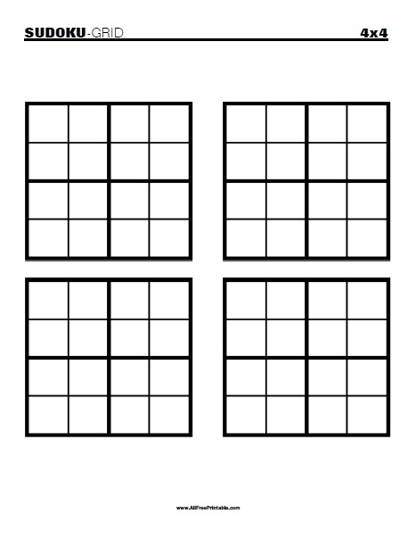 Printable Blank Sudoku 4 Per Page