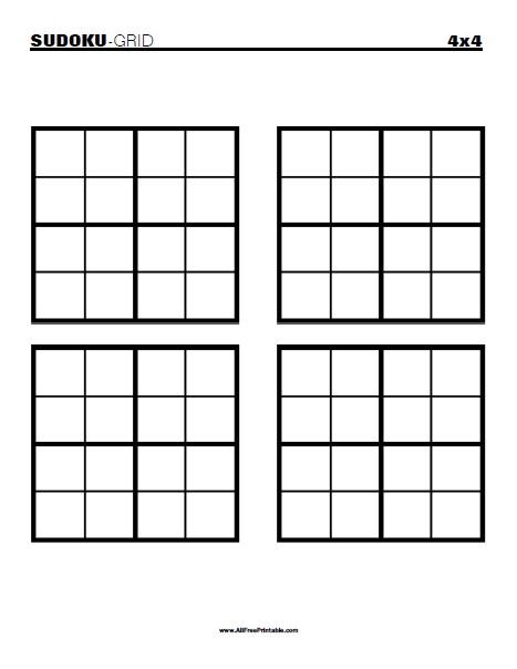 Blank Sudoku Printable 4 Per Page
