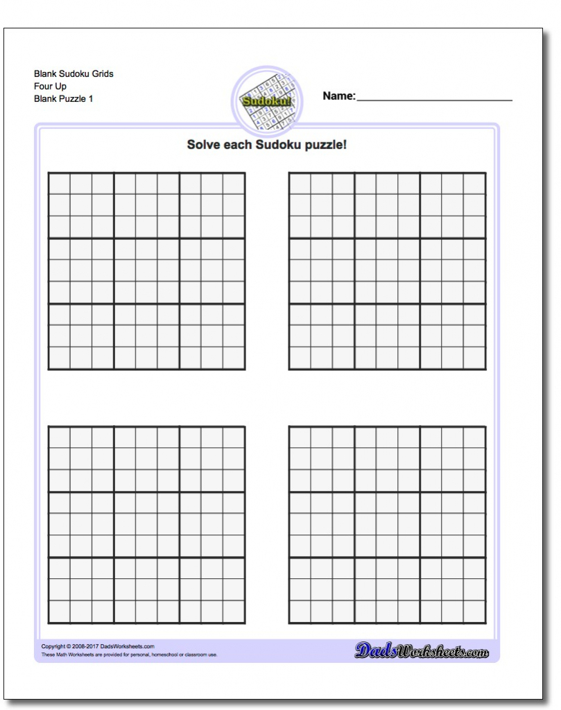 Printable Blank Sudoku 2 Per Page