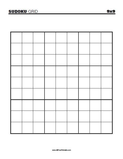 Printable Blank Sudoku Grid