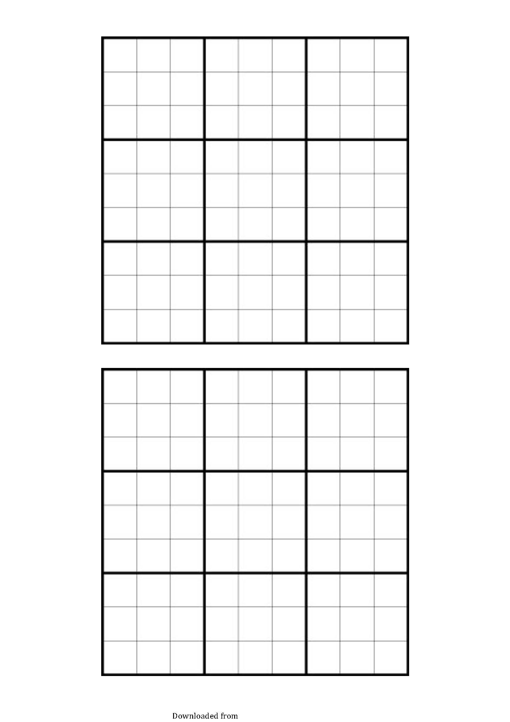 Empty Sudoku Grid Printable