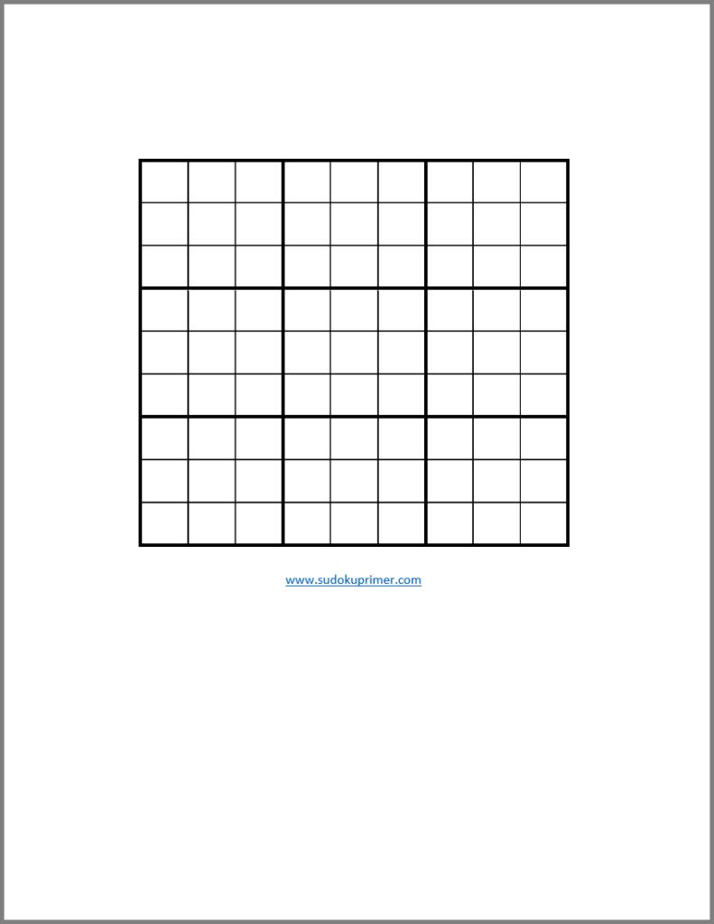 Blank Sudoku Printable PDF Sudoku Printable