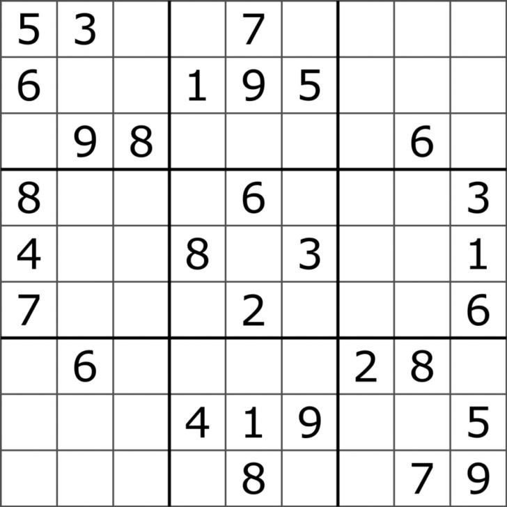 Sudoku 16×16 Printable Numbers