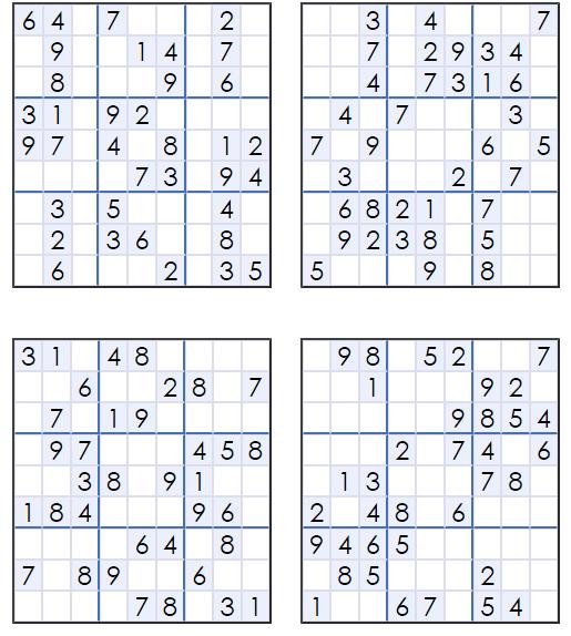 Printable Easy Sudoku Puzzles 4 Per Page
