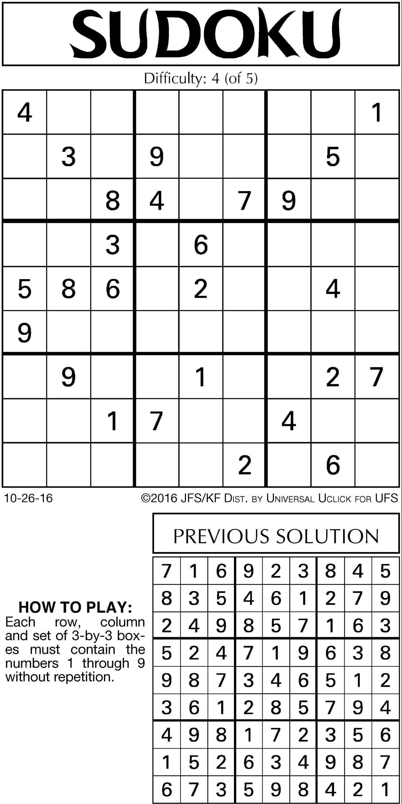 Chicago Tribune Sudoku Printable