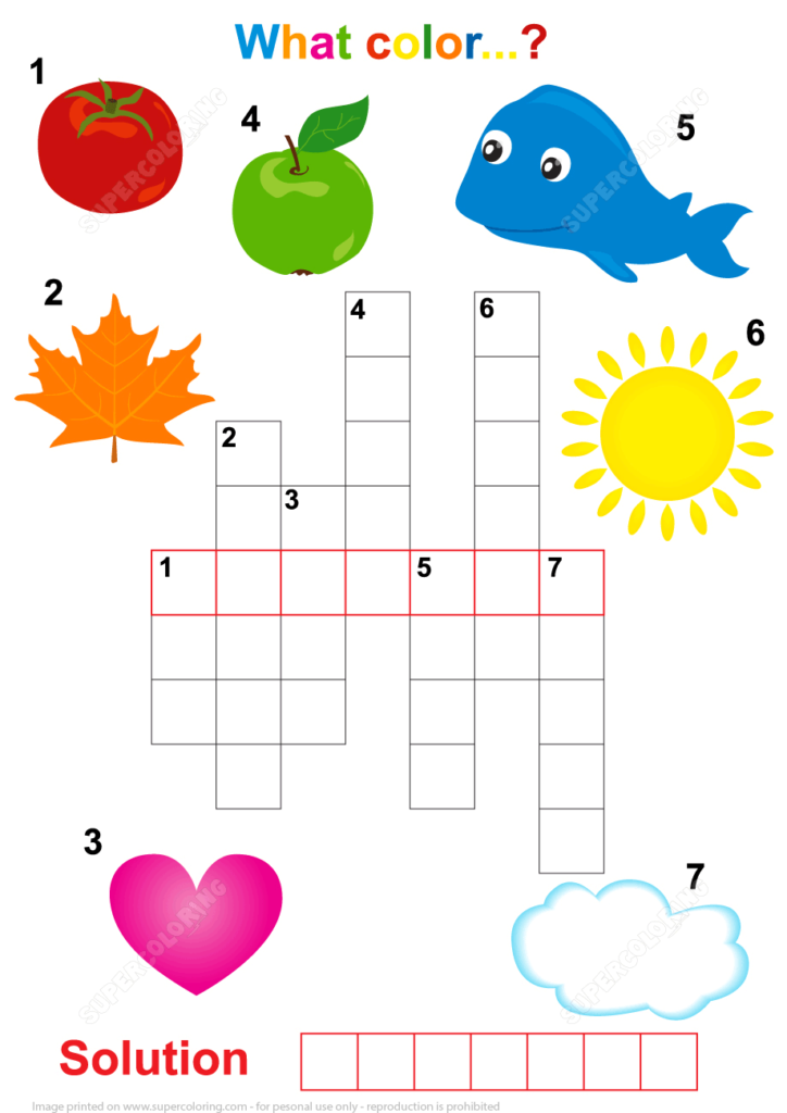 Crossword Puzzle For Children What The Color Free