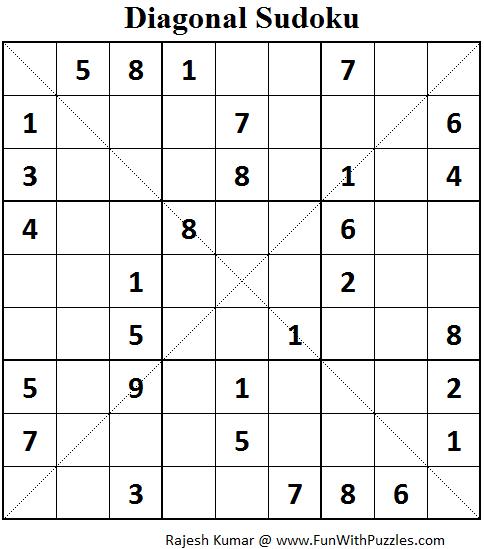 Sudoku Diagonal Printable