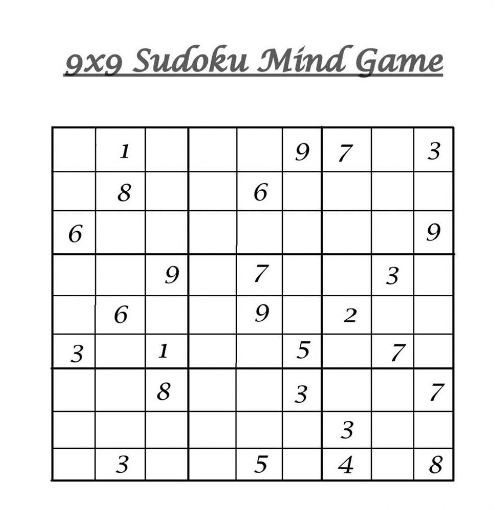 Sudoku 9x9 Printable