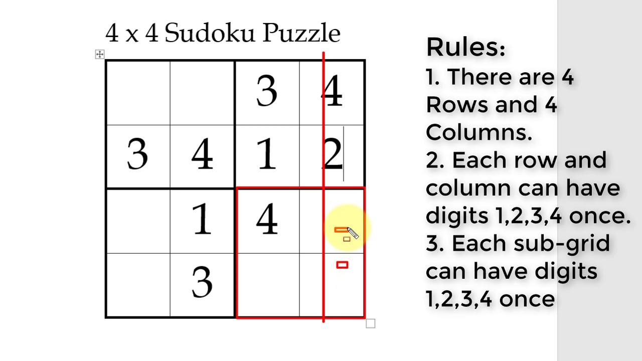 Sudoku Printables 4x4