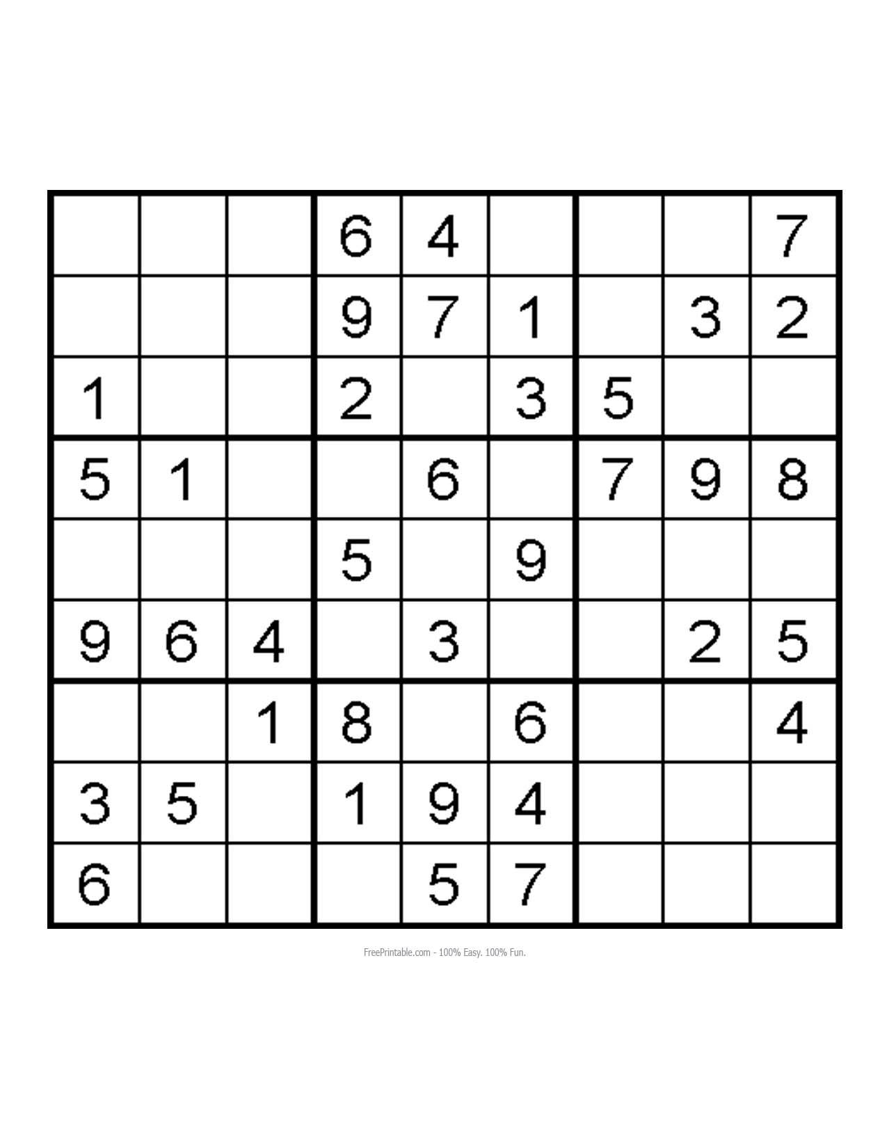 Free Printable Very Easy Sudoku Puzzles