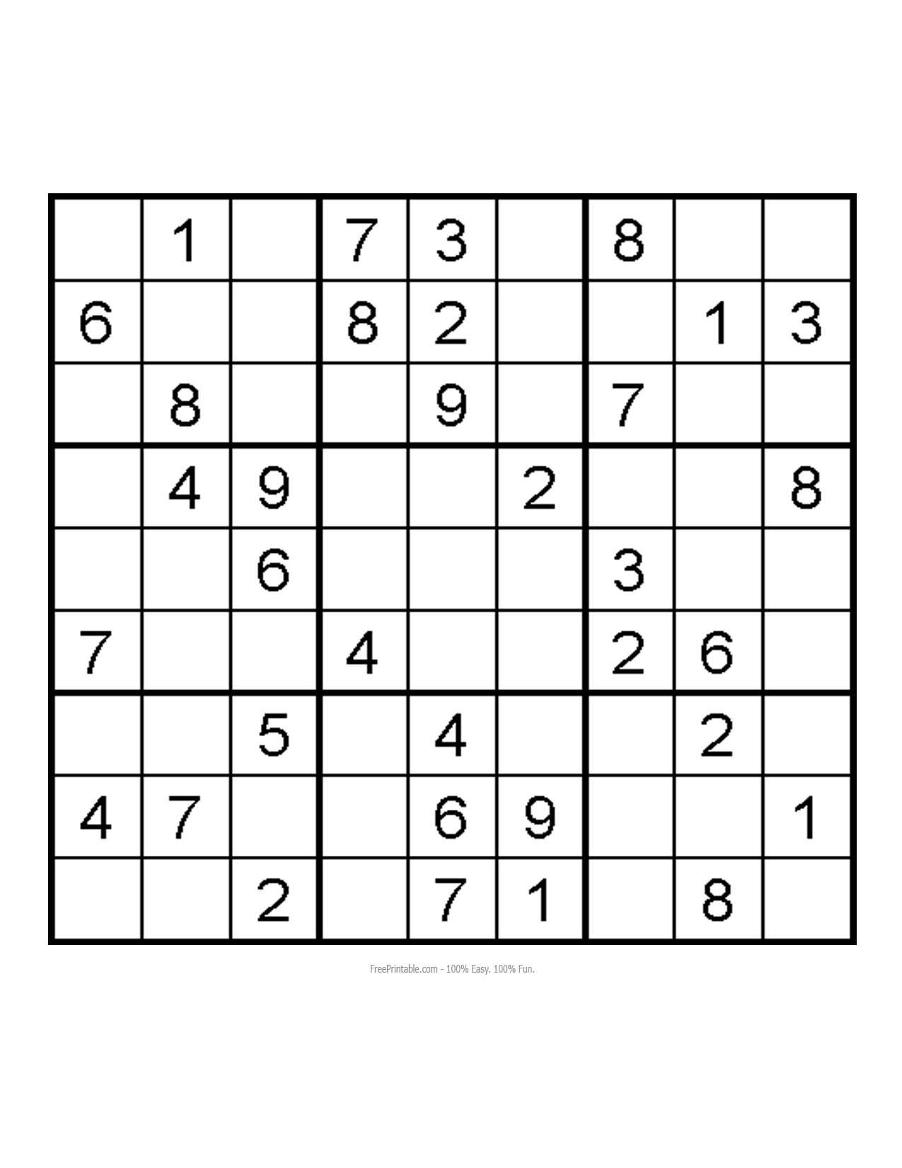 Easy Sudoku Printable Sheets