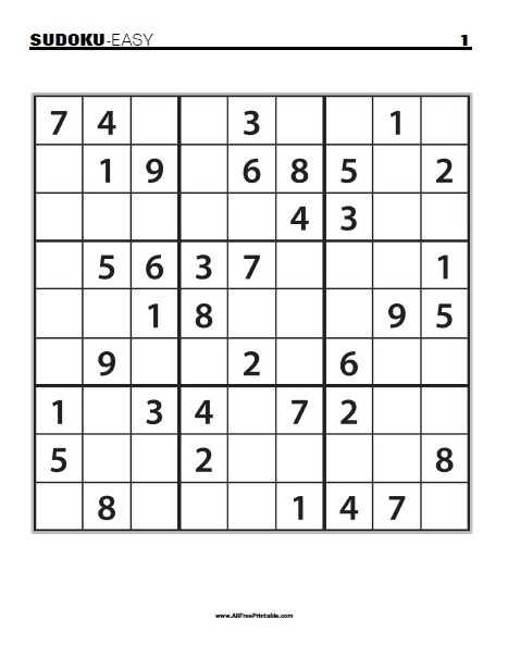 Free Printable Easy Sudoku Puzzles