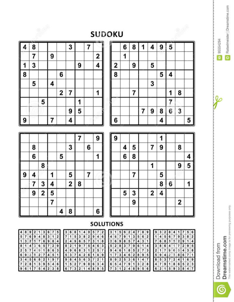 Four Sudoku Games With Answers Set 5 Stock Vector